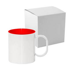 Plastic mug 330 ml with red interior with box Sublimation Thermal Transfer