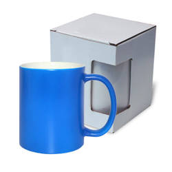 Mug fluorescent - blue matte with box Sublimation Thermal Transfer