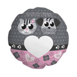 Ø 60 cm polyester cover for sublimation printing - Cat and dog