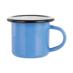 100 ml enamelled mug blue with black edge lining for thermo-transfer printing