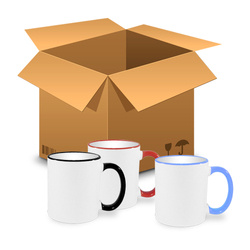 144 pcs MAX mugs 450 ml handle colour MIX  Sublimation Thermal Transfer