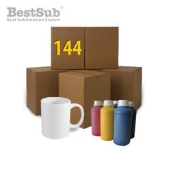 144 pcs White Mugs HARD ORCA + 100ml printing ink FREE Sublimation Thermal Transfer