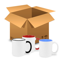 144 pcs of colourful mugs 330 ml – design and colour MIX - Sublimation Thermal Transfer