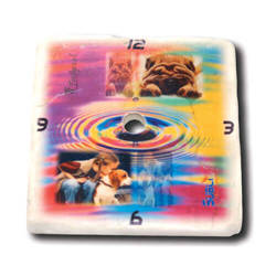 15 x 15 cm gloss marble tile with a hole for sublimation printing