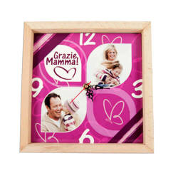 22 x 22 cm wall clock in a wooden frame for sublimation printing