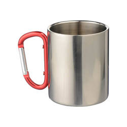 300 ml metal cup with snap hook  for sublimation - silver