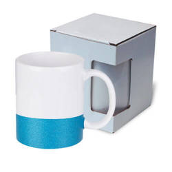 330 ml mug with a glitter strap for sublimation printing with box - blue