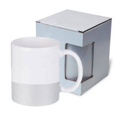 330 ml mug with a glitter strap for sublimation printing with box - silver