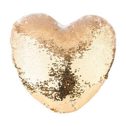 39 x 44 cm heart-shaped pillowcase with two colour of sequins for sublimation printing – gold