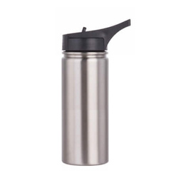 750 ml Stainless steel flask w/ sports straw cap flip lid (silver)