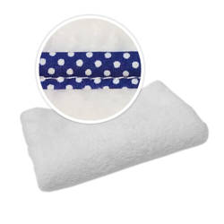 Blanket with navy blue trimming in white polka dots Sublimation