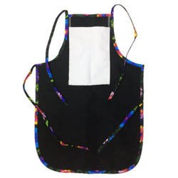 Children's rounded apron with pocket for sublimation - black with colorful trimming - Black Slavic flowers