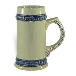 Grey beer mug with blue ornament 660 ml Sublimation Thermal Transfer