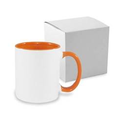 JS Coating mug 330 ml FUNNY orange with box Sublimation Thermal Transfer