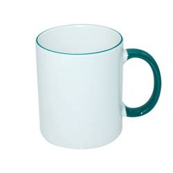 JS Coating mug 330 ml with dark green handle Sublimation Thermal Transfer