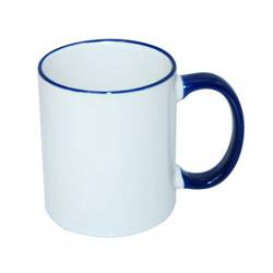 JS Coating mug 330 ml with navy blue handle Sublimation Thermal Transfer