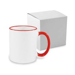 JS Coating mug 330 ml with red handle with box Sublimation Thermal Transfer