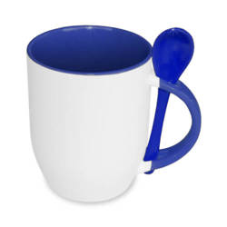 JS-Coating mug with spoon navy blue Sublimation Thermal Transfer