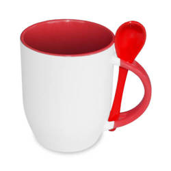 JS-Coating mug with spoon red Sublimation Thermal Transfer