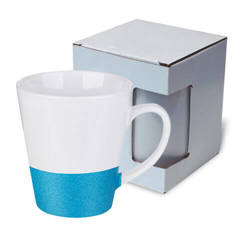 Latte mug 300 ml with a glitter strap for sublimation printing with box KAR3 - blue