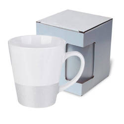Latte mug 300 ml with a glitter strap for sublimation printing with box KAR3 - silver