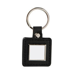 Leather and metal pendant for sublimation - square - black