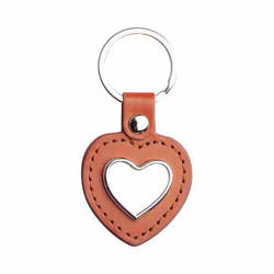 Leather and metal pendant for sublimation - the heart - brown