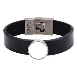 Leather bracelet with circlular plate - black Sublimation