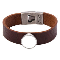 Leather bracelet with circlular plate - brown Sublimation