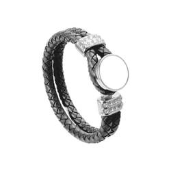 Leather braided bracelet with ring - black Sublimation