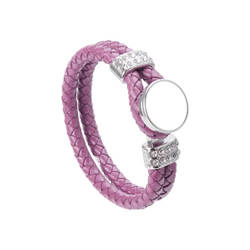 Leather braided bracelet with ring - purple Sublimation