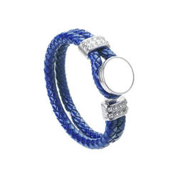 Leather braided bracelet with ring - royal blue Sublimation