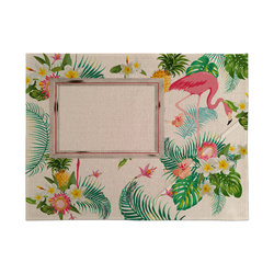 Linen table cloth mat for sublimation printing - Flamingo