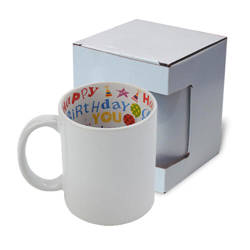 Mug A+ 330 ml with the Happy Birthday inside with box Sublimation Termotransfer