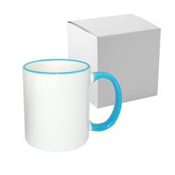 Mug ECO 330 ml with light blue handle with box Sublimation Thermal Transfer