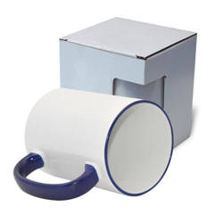 Mug MAX A+ 450 ml with navy blue handle with box KAR5 Sublimation Thermal Transfer