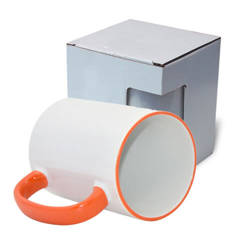Mug MAX A+ 450 ml with orange handle with box KAR5 Sublimation Thermal Transfer
