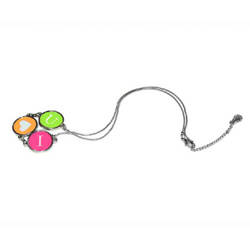 Necklace 3 round pendants with metal string Sublimation Thermal Transfer