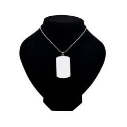 Necklace rectangular with round corners (US Army Style) dog tag with metal string Sublimation Thermal Transfer