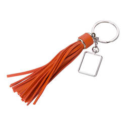 Rectangular key ring with long fringes - orange for sublimation