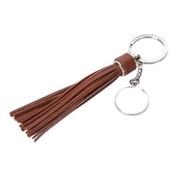 Round key ring with long fringes - brown for sublimation
