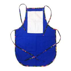 Rounded apron with pocket for sublimation - blue with colorful trimming - Black Slavic flowers