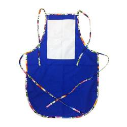 Rounded apron with pocket for sublimation - blue with colorful trimming - White Slavic flowers