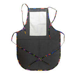 Rounded apron with pocket for sublimation - grey with colorful trimming - Black Slavic flowers
