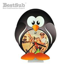 Standing MDF clock for sublimation - Penguin