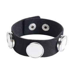 Suede bracelet with 3 circular plates - black Sublimation