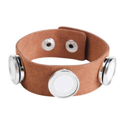 Suede bracelet with 3 circular plates - brown Sublimation