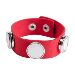 Suede bracelet with 3 circular plates - red Sublimation