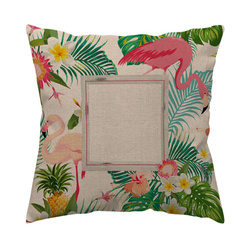Two-colour linen cover 38 x 38 cm for sublimation printing - Flamingo