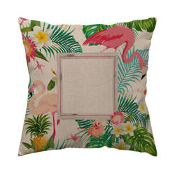 Two-colour linen cover 50 x 50 cm for sublimation printing - Flamingo